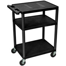 Endura 3 Shelf Mobile A/V Cart - Black - 24''W x 18''D x 35.25''H