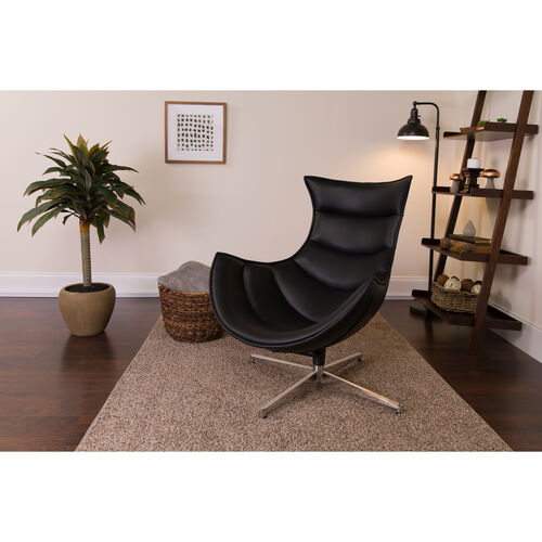 Our Black Leather Swivel Cocoon Chair is on sale now.
