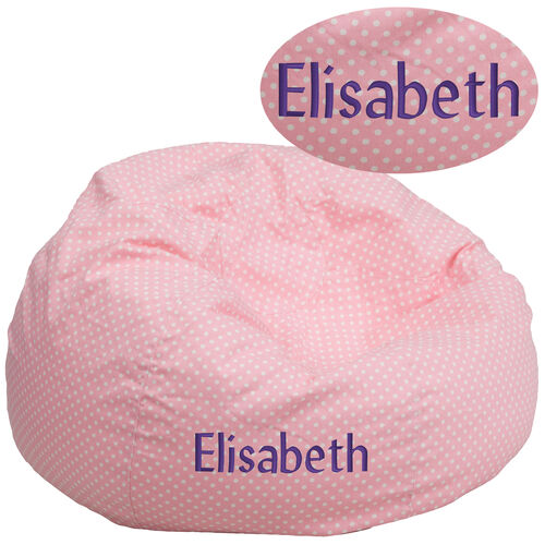 Our Personalized Oversized Light Pink Dot Bean Bag Chair is on sale now.