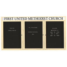 3 Door Outdoor Enclosed Directory Board with Header and Ivory Anodized Aluminum Frame - 36