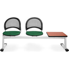 Moon 3-Beam Seating with 2 Forest Green Fabric Seats and 1 Table - Cherry Finish