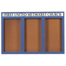 3 Door Indoor Enclosed Bulletin Board with Header and Blue Powder Coated Aluminum Frame - 48