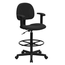Fabric Drafting Chair with Adjustable Arms (Cylinders: 22.5''-27''H or 26''-30.5''H)