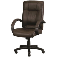 Odyssey High Back 26'' W x 27'' D x 44'' H Adjustable Height Executive Leather Chair - Brown