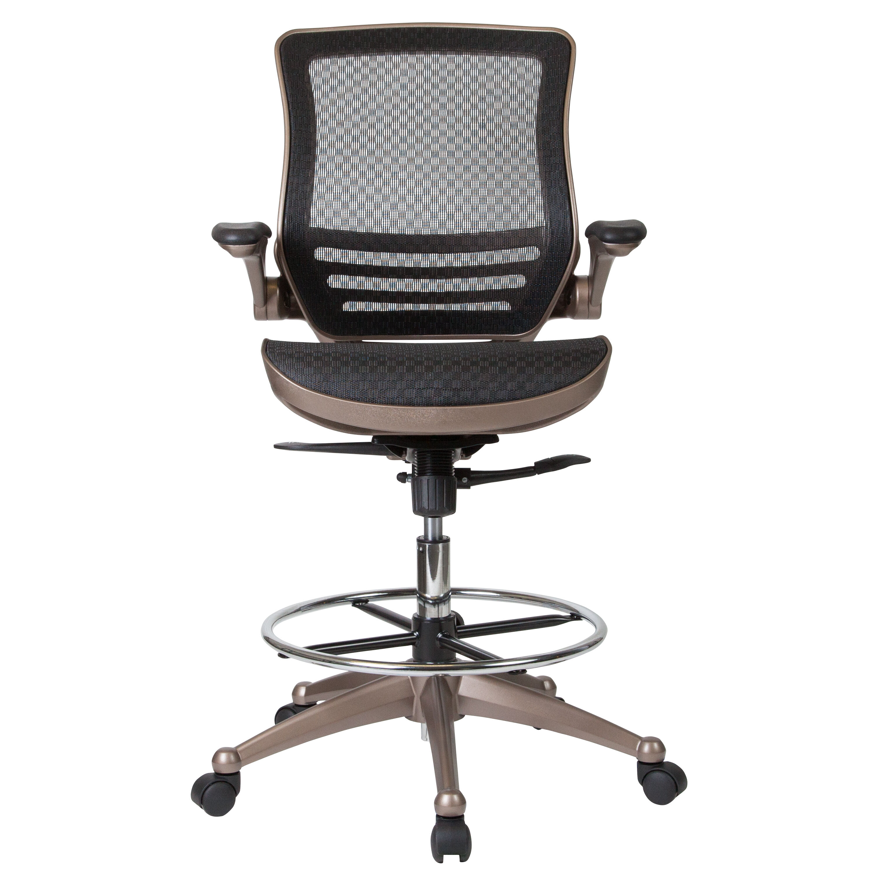 ... Our Mid Back Transparent Black Mesh Drafting Chair With Melrose Gold  Frame And Flip