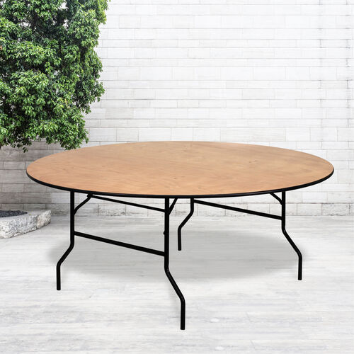 Our 6-Foot Round Wood Folding Banquet Table with Clear Coated Finished Top is on sale now.