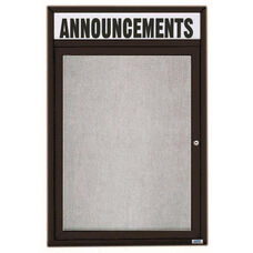 1 Door Outdoor Enclosed Bulletin Board with Header and Black Powder Coated Aluminum Frame - 48