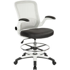 Work Smart Mesh Back Drafting Chair with Faux Leather Seat and Adjustable Footring - Black
