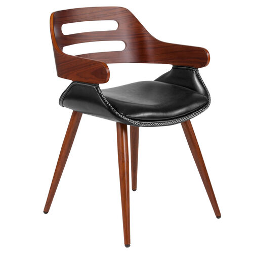 Contemporary Walnut Bentwood Side Reception Chair with Cross Stitched Black LeatherSoft Seat