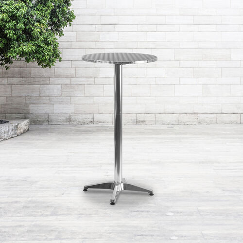 """23.25"""" Round Aluminum Indoor-Outdoor Bar Height Table with Flip-Up Table"""