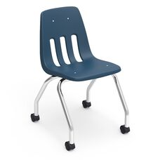 9000 Classic Series Mobile Chair with 18''H Polypropylene Seat and Chrome Frame - Navy - 18.63''W x 21''D x 30''H