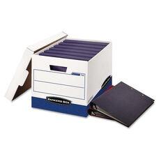 Bankers Box® BINDERBOX Storage Box - Locking Lid - 12 1/4 x 18 1/2 x 12 - White/Blue - 12/Carton