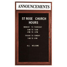 1 Door Enclosed Changeable Letter Board with Header and Cherry Finish - 36