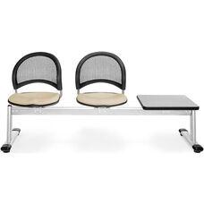 Moon 3-Beam Seating with 2 Khaki Fabric Seats and 1 Table - Gray Nebula Finish