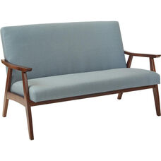 Ave Six Davis Loveseat - Klein Sea and Medium Espresso