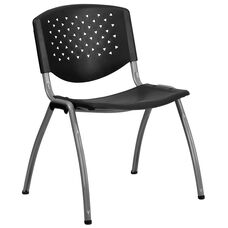 HERCULES Series 880 lb. Capacity Black Plastic Stack Chair with Titanium Frame