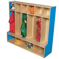 Blueberry 6-Section Seat Locker with Two Coat Hooks in Each Section - Assembled - 54