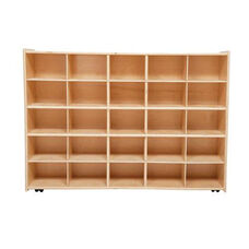 25 Cubbie Tray Baltic Birch Plywood Storage Unit with Tuff-Gloss UV Finish - Assembled with Casters - 46.75