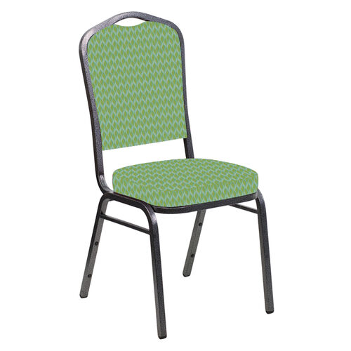 Our Embroidered Crown Back Banquet Chair in Rapture Lime Fabric - Silver Vein Frame is on sale now.