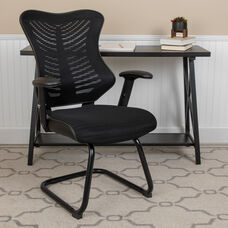 Designer Black Mesh Sled Base Side Reception Chair with Adjustable Arms