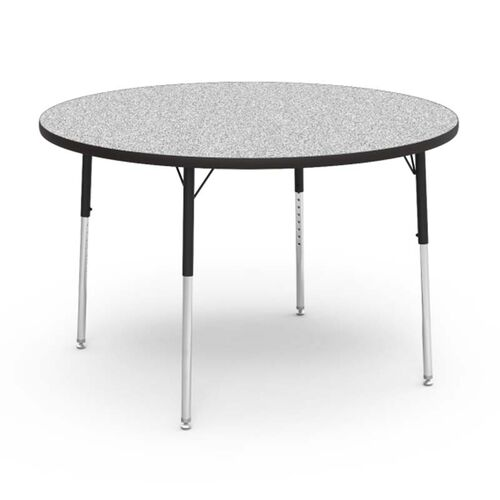 Quick Ship 4000 Series Adjustable Height Round Laminate Activity Table with Gray Nebula Top - 48