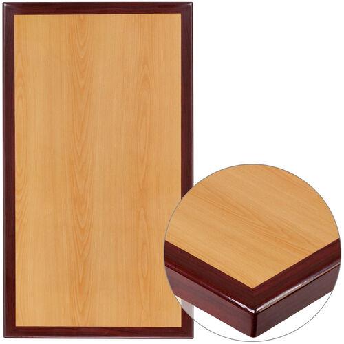 "24"" x 42"" Rectangular 2-Tone High-Gloss Cherry Resin Table Top with 2"" Thick Mahogany Edge"