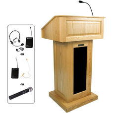 Victoria Wireless 150 Watt Sound and Hand Held Mic Lectern - Maple Finish - 26.375