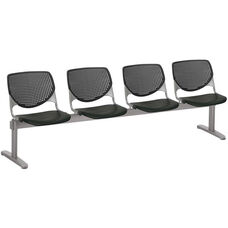 2300 KOOL Series Beam Seating with 4 Poly Perforated Back and Seats with Silver Frame - Black