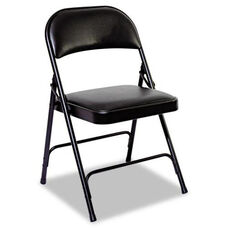 Alera® Steel Folding Chair with Padded Back/Seat - Graphite - 4/Carton