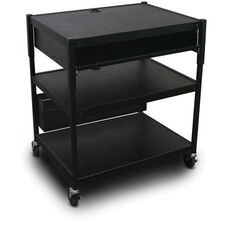 Spartan Series Adjustable Media Projector Cart with One Pull-Out Front-Shelf - Black