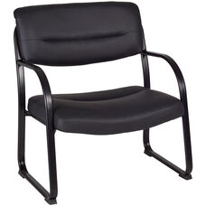Crusoe 35''H Big and Tall Steel Frame Side Chair - Black Leather