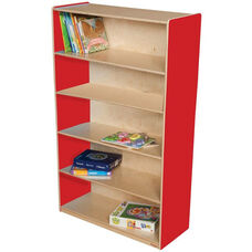 Wooden 5 Fixed Shelf Bookcase with Plywood Back - Strawberry - 36