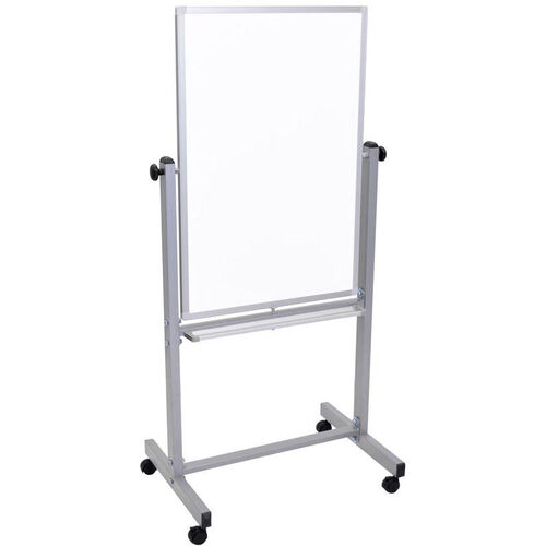 Double Sided Magnetic Mobile White Board with Chrome Finished Aluminum Frame - 27