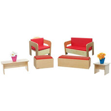 Wooden Kids 6 Piece Furniture Set with Red Vinyl Cushions