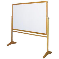 Premiere Series Reversible Mobile MLC Markerboard with Wood Frame - 72
