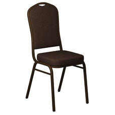 Embroidered Crown Back Banquet Chair in Sherpa Coffee Fabric - Gold Vein Frame