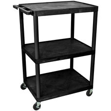3 Shelf High Open A/V Utility Cart - Black - 32