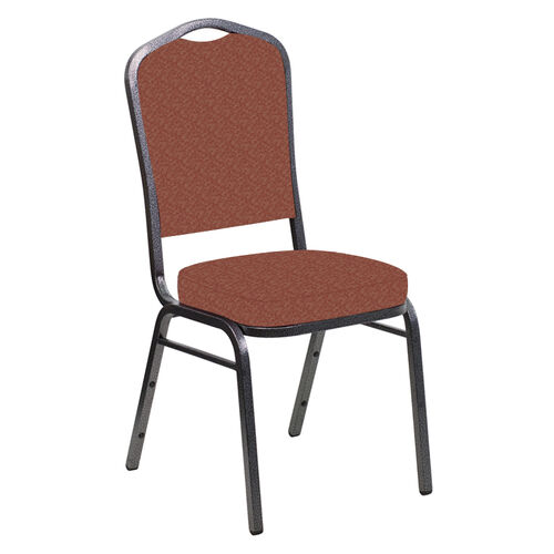 Our Embroidered Crown Back Banquet Chair in Bonaire Chili Fabric - Silver Vein Frame is on sale now.