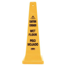 Rubbermaid® Commercial Four-Sided Caution - Wet Floor Yellow Safety Cone - 12 1/4 x 12 1/4 x 36h