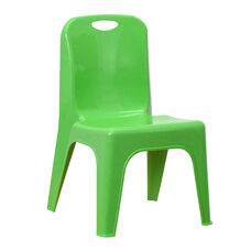 Green Plastic Stackable School Chair with Carrying Handle and 11