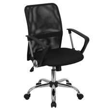 Mid-Back Black Mesh Swivel Task Office Chair with Lumbar Support Band and Arms