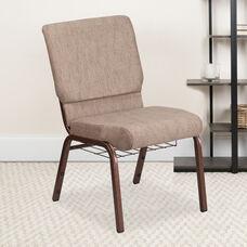HERCULES Series 18.5''W Church Chair in Beige Fabric with Book Rack - Copper Vein Frame