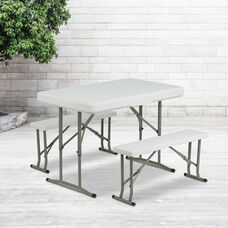 3 Piece Portable Plastic Folding Bench and Table Set