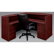 Fairplex Right or Left Reception Desk - Mahogany
