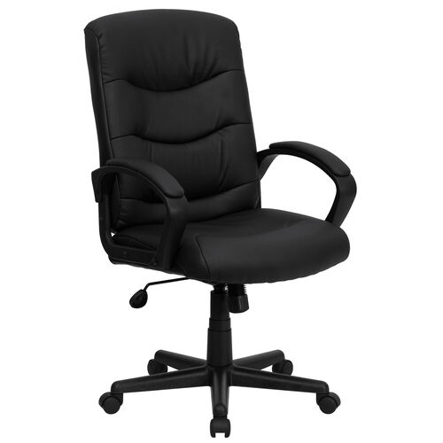 Mid-Back Black LeatherSoft Executive Swivel Office Chair with Three Line Horizontal Stitch Back and Arms
