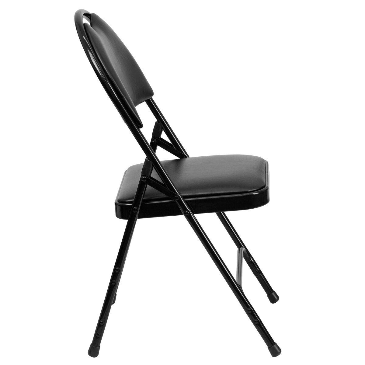 Black Vinyl Folding Chair Ha Mc705av 3 Bk Gg