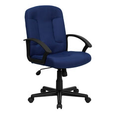 Mid-Back Navy Fabric Executive Swivel Office Chair with Nylon Arms