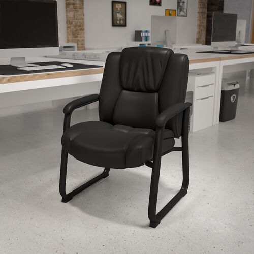 Reception Chairs | Black LeatherSoft Side Chairs for Reception and Office