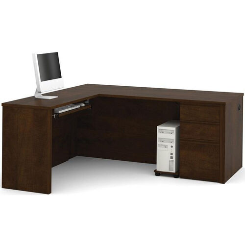 Our Prestige + L-Shaped Workstation Kit with Modesty Panel and Wire Management - Chocolate is on sale now.
