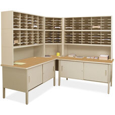 Mailroom 84'' H x 90'' Squared Corner 120 Adustable Slot Literature Organizer with Two Under Worksurface Storage Cabinets - Putty Finish and Oak Laminate